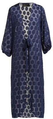 Adriana Degreas Marine Polka Dot Robe - Womens - Navy