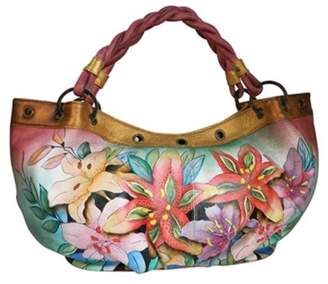 Anuschka Silver Fever Large Hand Painted Genuine Leather Hobo Bag (Luscious Lilies)