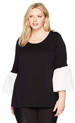Calvin Klein Women's Plus Size Crewneck W/poplin Flare