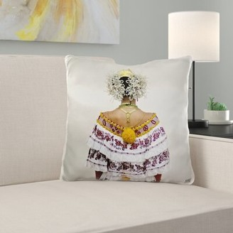 East Urban Home Beach Bicycle Panamanian Woman in Her Twenties Dressed Up with the Traditional Pollera Pillow Cover East Urban Home