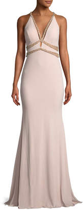 Jovani Sleeveless Jersey Beaded Mermaid Gown