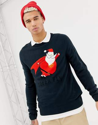 Jack and Jones Originals Knitted Holidays Sweater With Super Fly Santa