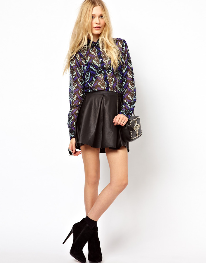 River Island Skirt With Wet Look Box Pleats