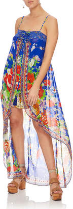 Camilla Printed Silk Embellished Romper with Overlay