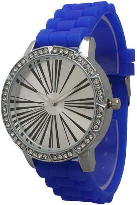 OLIVIA PRATT Olivia Pratt Womens Rhinestone Bezel Roman Numeral Dial Royal Silicon Watch 20369Royal