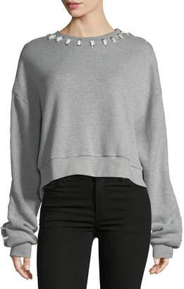 Jonathan Simkhai Loopback Whipstitch Cropped Cotton Sweater
