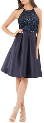 Women's Carmen Marc Valvo Sequin Mikado Fit & Flare Dress $258 thestylecure.com