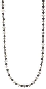King Baby Studio Cross& Onyx Beaded Necklace