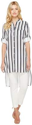 Calvin Klein Stripe Roll Sleeve Tunic Women's Blouse