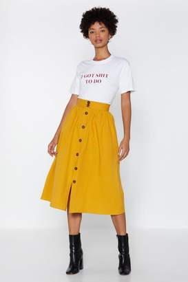 Nasty Gal Button Up and At 'Em Midi Skirt