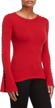 Vila Milano Beaded Bell Sleeve Sweater