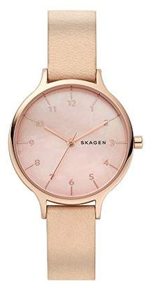 Skagen Women's Quartz Stainless Steel and Leather Casual Watch