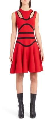 Alexander McQueen Bustier Knit Fit & Flare Dress