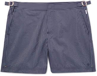 Orlebar Brown Kingsman + Bulldog Slim-Fit Mid-Length Striped Seersucker Swim Shorts
