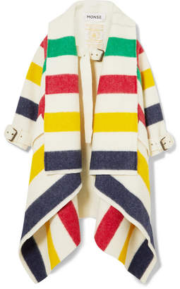 Monse Hudson's Bay Striped Wool-felt Blanket Coat - Ivory