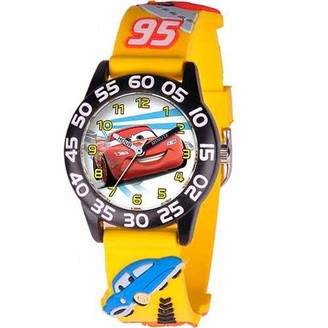 Disney Lightning McQueen Boys' 3D Plastic Watch, Yellow Strap