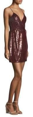 BCBGMAXAZRIA Sequin Wrap Mini Dress