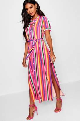 boohoo Rainbow Stripe Midaxi Shirt Dress