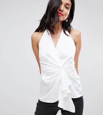 Asos Tall DESIGN Tall Halter Top With Origami Plunge