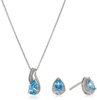 Sterling Silver Topaz Pear with Diamond Pendant