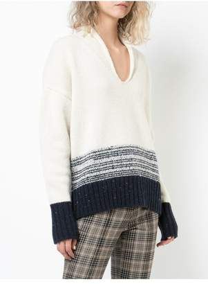 ADAM by Adam Lippes Marled Wool Cashmere Deep V-Neck Sweater