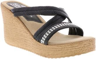 Sbicca Fabric Wedge Slide Sandals - Viona