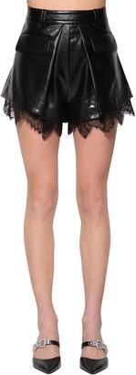 Self-Portrait Faux Leather Shorts W/ Lace Trim