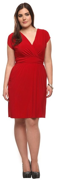Red Pocket Surplice Dress