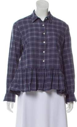 The Great Plaid Ruffle-Trimmed Top