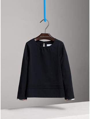 Burberry Long-sleeve Pleat and Check Detail Cotton T-shirt