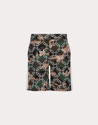 Valentino Camouflage Bermuda Shorts With Vltn Grid Print Man Military Green Polyamide 56%, Cotton 44% L