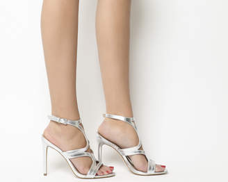 d9d536bd2e7 Office Harrogate Strappy Single Sole Heels Silver Leather