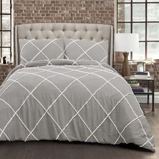 Lush Decor Diamond Pom Pom Comforter Gray 3Pc Set Full/Queen
