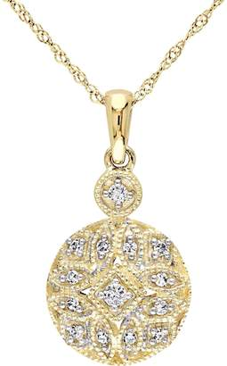 Affinity Diamond Jewelry Beaded Filigree Diamond Pendant, 14K, 1/8 cttw,by Affinity