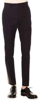 Valentino Side-Stripe Slim-Fit Trousers, Navy/Army