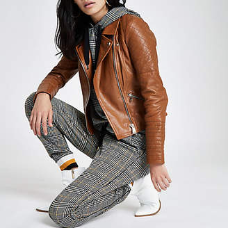 River Island Brown leather quilted biker jacket