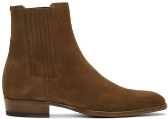 Saint Laurent Brown Suede Wyatt Chelsea Boots