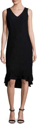 Nanette Lepore Nanette Fringed-Hem Sleeveless Boucle Sheath Dress, Black