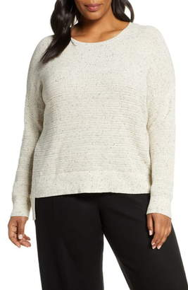 Eileen Fisher Waffle Weave Step Hem Cotton Blend Sweater