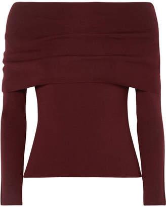 Agnona Off-the-shoulder Wool-blend Sweater - Burgundy