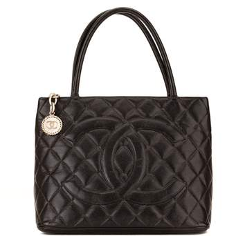 Chanel Black Quilted Caviar Medallion Tote (3996001)