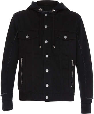 Balmain Hooded Denim And Jersey Jacket