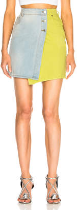 MSGM Colorblocked Denim Skirt