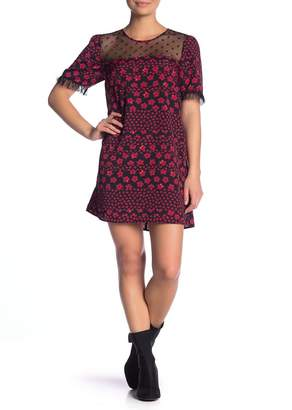BCBGeneration Floral Print Dot Mesh Dress