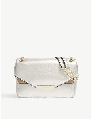 Sandro Ladies Gold Grained Yza Leather and Suede Shoulder Bag