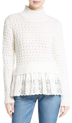 Women's Rebecca Taylor Eyelet Mock Neck Sweater $395 thestylecure.com