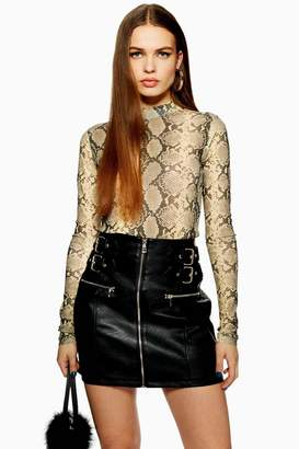 Topshop Leather Look Buckle Mini Skirt