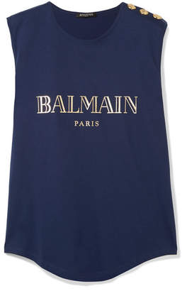 Balmain Button-embellished Printed Cotton-jersey Tank - Navy
