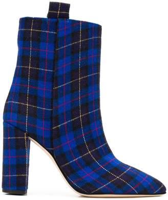 Paris Texas tartan ankle length boots