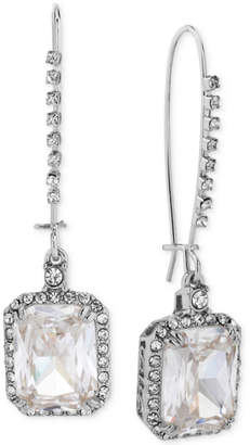 At Macy S Betsey Johnson Silver Tone Crystal And Pave Square Drop Earrings